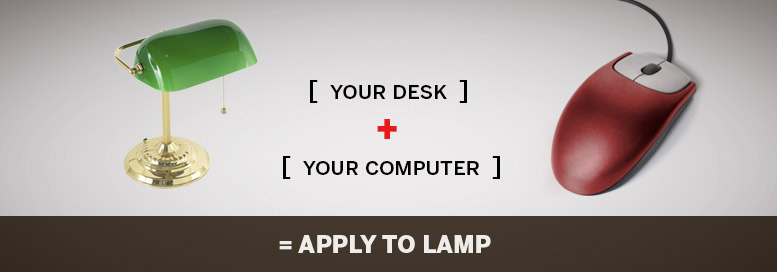 Pictoral equation. Your desk plus your computer equals apply to lamp.