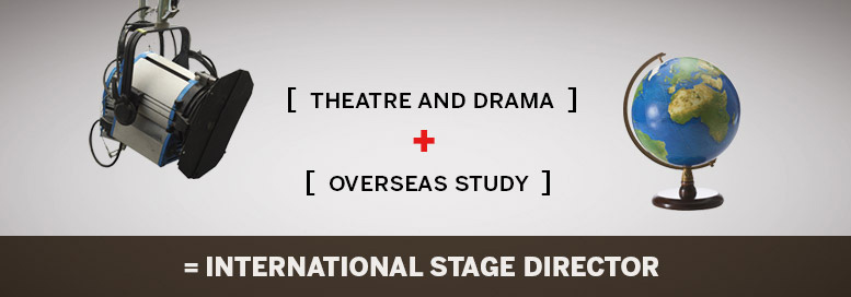Pictoral equation. Theatre and drama plus oveseas study equals international stage director.
