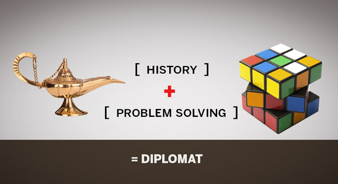 History plus problem solving equals diplomat.